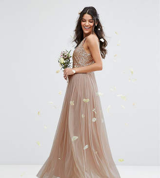 e761003f Maya High Neck Maxi Tulle Dress With Tonal Delicate Sequins