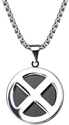 Marvel Comics Unisex Adult X-Men Logo Stainless Steel Pendant Necklace with 24 inch Chain