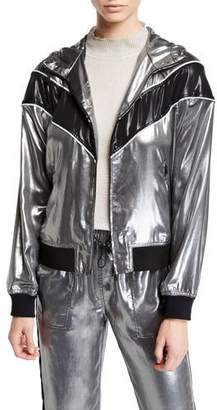 Rag & Bone Sloane Metallic Hooded Track Jacket