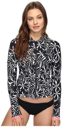 Tommy Bahama Pinwheel Palms Long-Sleeve Hooded Full-Zip Rash Guard Cover-Up Women's Swimwear