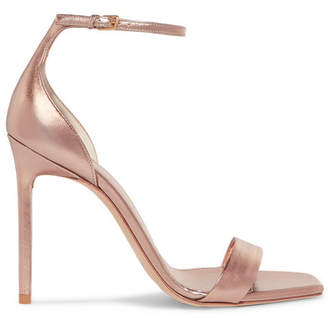 Saint Laurent Amber Metallic Leather Sandals - Pink
