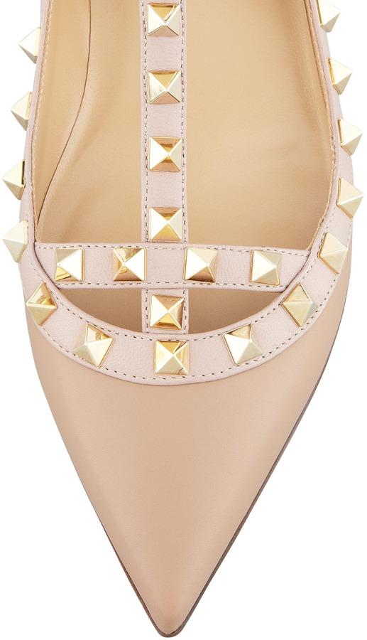 Valentino Rockstud Leather Caged Ballerina, Alpaca
