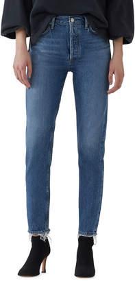 A Gold E Agolde Jamie High-Rise Organic Denim Skinny Jeans with Chewed Hem