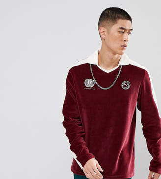 Puma Velvet Soccer Polo Shirt In Burgundy Exclusive To ASOS