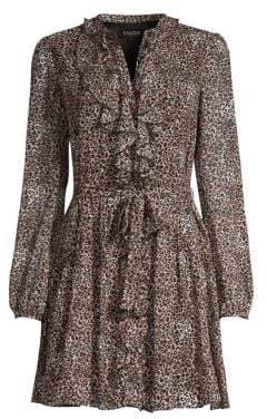 Saloni Tilly Ruffled Leopard Print Dress