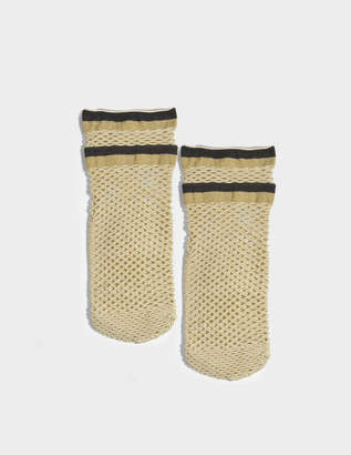 Maria La Rosa Teenage Netted Socks in Gold Polyamide, Elastane and Polyester