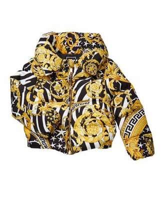Versace Girl's Barocco Print Puffer Coat, Size 4-6