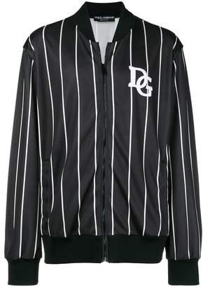 Dolce & Gabbana striped logo bomber jacket