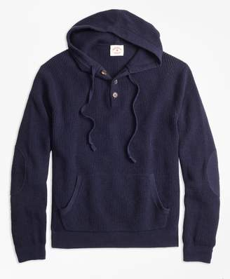 Brooks Brothers Waffle-Knit Henley Hoodie