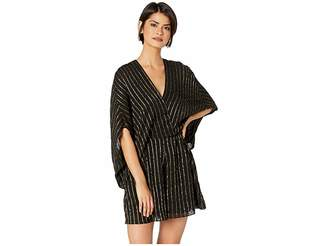Halston Cape Sleeve V-Neck Faux Wrap Romper