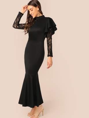1d302c73 Shein Ruffle Trim Sheer Lace Sleeve Fishtail Hem Dress