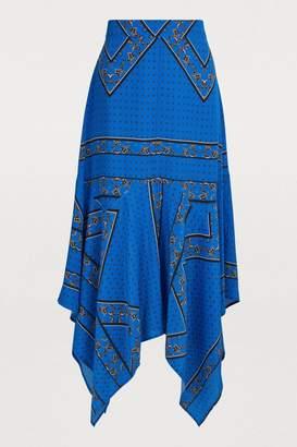 Ganni Cloverdale silk skirt