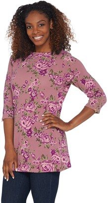 Denim & Co. Printed Brushed Heavenly Jersey Tunic with Zipper Cuff