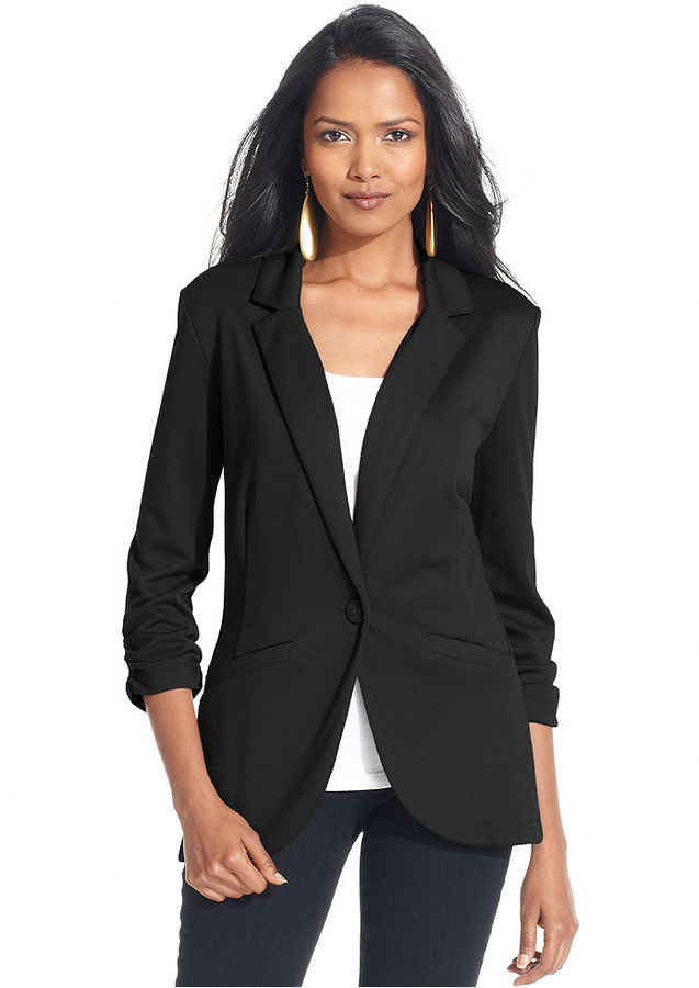 Style&Co. Ruched-Sleeve Single-Button Blazer
