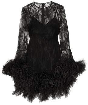 Alexander McQueen Feather-Trimmed Lace Mini Dress