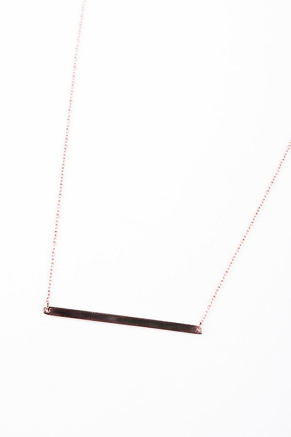 Loren STEWART Plain Bar Necklace - Rose Gold