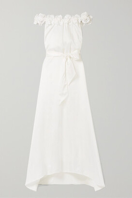 Miguelina Felicity Off-the-shoulder Lace-trimmed Silk And Cotton-blend Maxi Dress - White