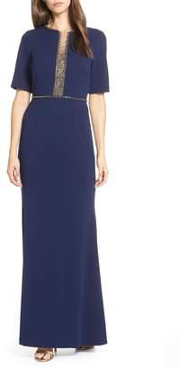 Adrianna Papell Beaded Crepe Evening Dress
