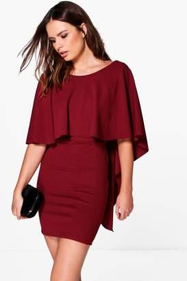 boohoo Reeva Short Sleeve Cape Detail Shift Dress