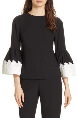 Ted Baker Lace Trim Fluted Bell Sleeve Blouse