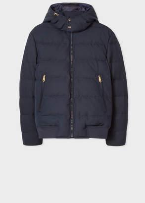 Paul Smith Men's Loro Piana Rain System Navy Down-Filled Jacket With Gradient 'Artist Stripe' Lining