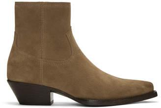 Saint Laurent Beige Suede Lukas Zip Boots