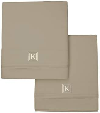 Valentino Luxor Linens 1200 TC Monogram Pillowcase Set (King)