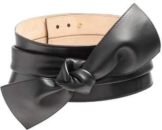 Alexander McQueen Wide Bow Embellished Leather Belt - Womens - Black