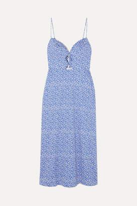 Saloni Jana Cutout Printed Stretch-cotton Midi Dress - Blue