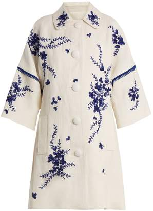 Andrew Gn Floral-embroidered linen coat