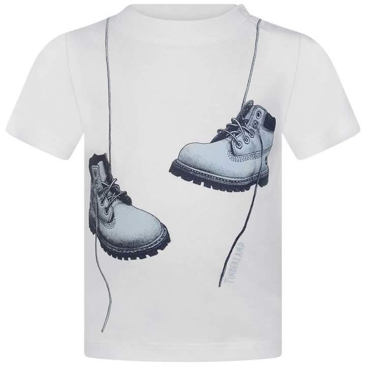 TimberlandBaby Boys Boys White Boots Print Top