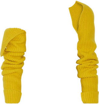 CALVIN KLEIN 205W39NYC - Ribbed Wool And Cashmere-blend Sleeves - Yellow $495 thestylecure.com