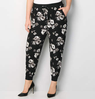 Avenue Black and White Floral Jogger