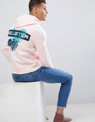 Hollister back print solid hoodie in pink
