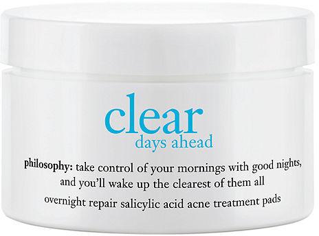 philosophy clear days ahead overnight repair salicylic acid acne treatment pads 60 ea