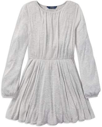 Ralph Lauren Girls' Dotted Jersey Dress - Big Kid