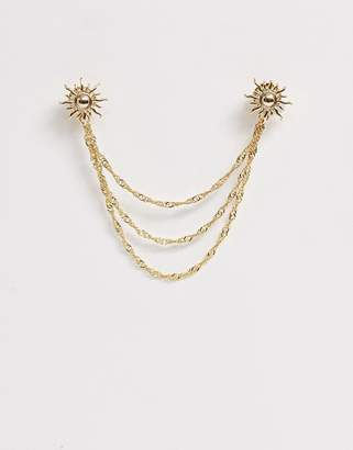 Asos Design DESIGN collar tips with suns in gold tone