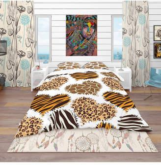 Designart 'Animal Print Style' Tropical Duvet Cover Set - Queen Bedding