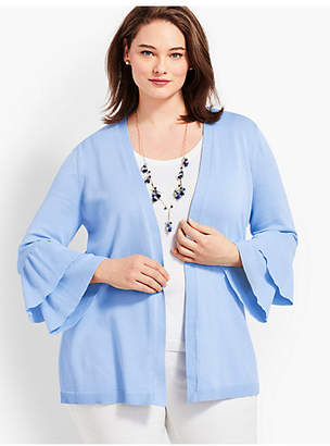 Talbots Womans Exclusive Flounce-Sleeve Open Cardigan