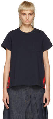 Sacai Navy and Orange Buffalo Check T-Shirt