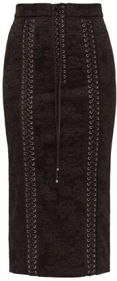 Dolce & Gabbana Lace Up Floral Jacquard Pencil Skirt - Womens - Black