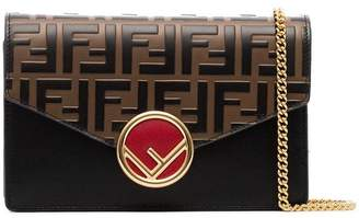 Fendi black, brown and red FF logo leather wallet on a chain bag