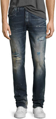 PRPS Demon Distressed Slim-Straight Jeans, Ice Cream (Dark Blue)