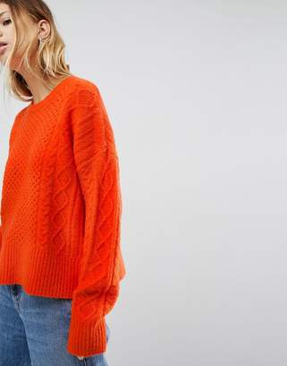Asos Sweater in Fluffy Cable in Wide Sleeve