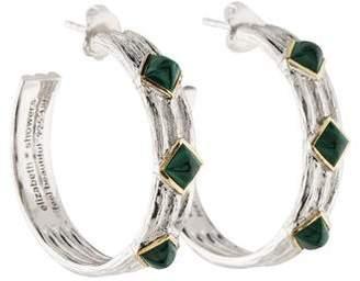 Elizabeth Showers Two-Tone Malachite Hoop Earrings