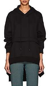 J KOO Women's Oversized Ruched Cotton Hoodie - Black
