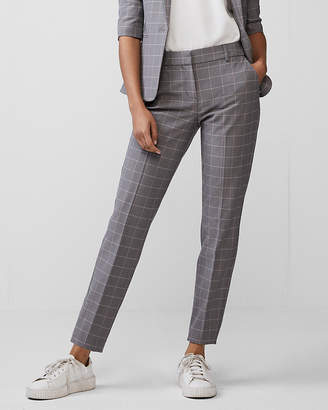 Express Mid Rise Windowpane Columnist Ankle Pant