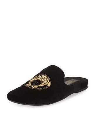 Versace Velvet Medusa Mule, Black $595 thestylecure.com