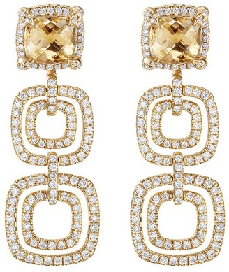 David Yurman 18kt yellow gold Châtelaine citrine and diamond drop earrings
