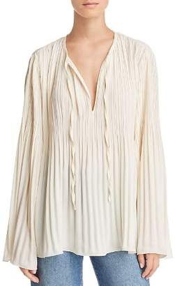 Elizabeth and James Jade Pleated Flare-Sleeve Top